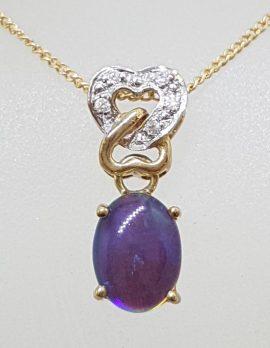 9ct Yellow Gold Opal & Diamond Heart Pendant on Gold Chain