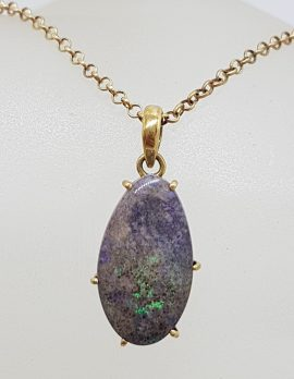 9ct Yellow Gold Boulder Opal on Gold Chain