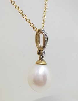 9ct Yellow Gold Pearl Drop on Diamond Loop Pendant on Gold Chain