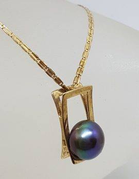 9ct Yellow Gold Black / Blue Pearl in Rectangle Pendant on Gold Chain