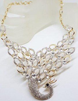 Plated Very Large Rhinestone Peacock / Phoenix Necklace and Earring Set - Costume Jewellery