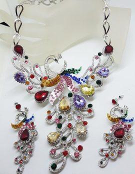Plated Very Large Multi-Colour with Rhinestone Peacock Necklace and Earring Set - Costume Jewellery