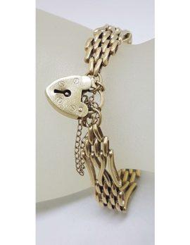 9ct Yellow Gold 4 Row Gatelink Bracelet with Heart Padlock - Vintage