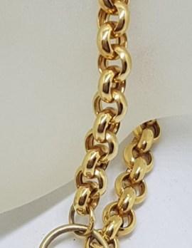 9ct Yellow Gold Belcher Link Bracelet with Diamond Heart Padlock Clasp