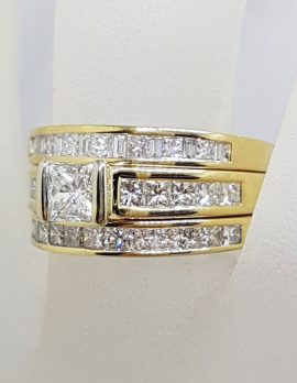 18ct Yellow Gold Princess Cut Diamond Engagement Ring, Wedding Ring and Eternity Ring Set
