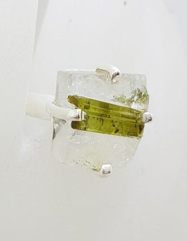 Sterling Silver Square Tourmaline Claw Set Ring