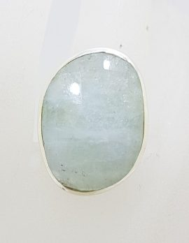 Sterling Silver Large Unusual Shaped Aquamarine Ring