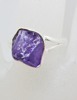 Sterling Silver Rough Natural Form Amethyst Ring