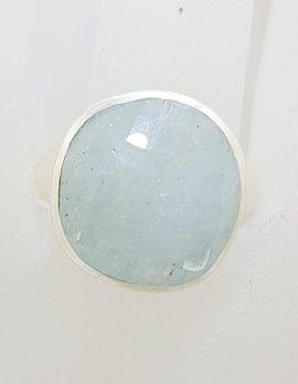 Sterling Silver Large Round Aquamarine Ring