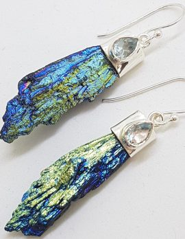 Sterling Silver Black Titanium Kyanite Long Drop Earrings with Topaz - Blue and Green