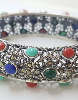 Sterling Silver Marcasite With Blue, Red and Green Wide Ornate Filigree Hinged Bangle