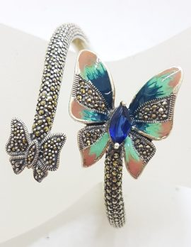 Sterling Silver Marcasite, Cubic Zirconia and Blue with Pink Enamel Butterfly Hinged Bangle