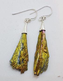 Sterling Silver Black Titanium Kyanite Long Drop Earrings – Vibrant Yellow