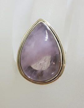 Sterling Silver Large Teardrop / Pear Shape Morganite Ring