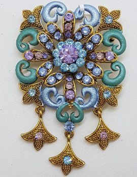 Plated Large Blue and Purple Ornate Drop Brooch – Costume Jewellery