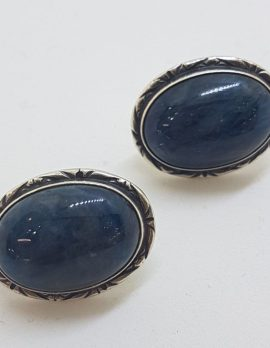 Sterling Silver Large Oval Blue Kyanite Stud Earrings