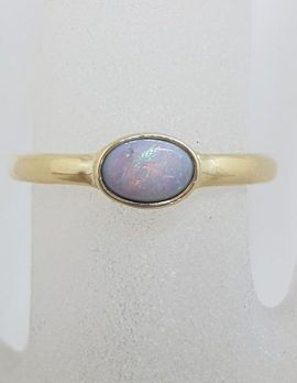 9ct Yellow Gold Solid Opal Oval Ring