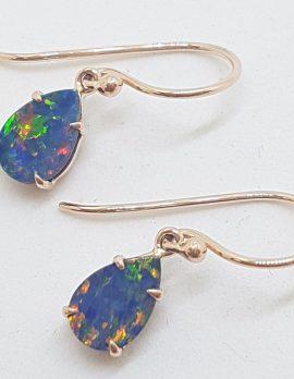 9ct Rose Gold Claw Set Teardrop / Pear Shape Blue and Multi-Colour Opal Drop Earrings