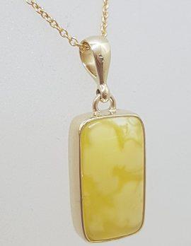 9ct Yellow Gold Bezel Set Natural Butter Amber Rectangular Pendant on Gold Chain