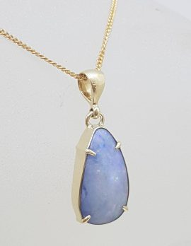9ct Yellow Gold Teardrop / Pear Shape Blue Opal Claw Set Pendant on Gold Chain