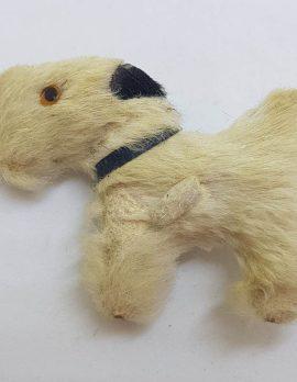 Large Fur Scottish Terrier Dog Brooch - Vintage Costume Jewellery - Scottie Dog