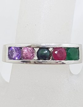"""Sterling Silver Multi-Colour Gemstone """" AMORE """" Ring - Amethyst, Morganite, Onyx, Ruby and Emerald"""
