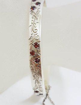 Sterling Silver Ornate Etched / Engraved Design with Garnets Hinged Bangle - Antique / Vintage