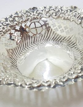 Sterling Silver Ornate Open Design Round Pin Dish - Hallmarked Chester 1898 - Antique / Vintage