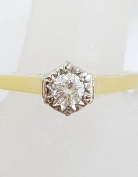 18ct Yellow Gold High Set Diamond Ring - Engagement Ring - Antique / Vintage