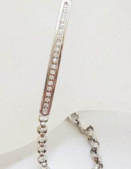 10ct White Gold Channel Set Belcher Link Bracelet