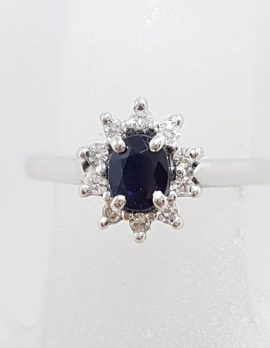 18ct White Gold Oval Sapphire Surrounded by Diamonds Cluster Ring - Vintage
