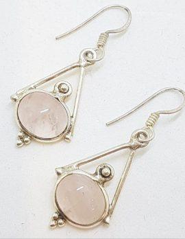 Sterling Silver Ornate Set Oval Rose Quartz Drop Earrings