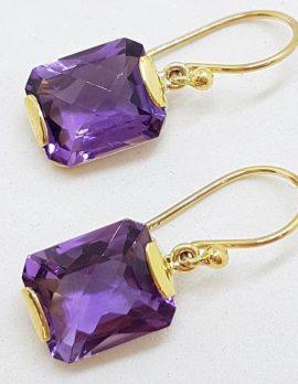 9ct Yellow Gold Rectangular Amethyst Drop Earrings
