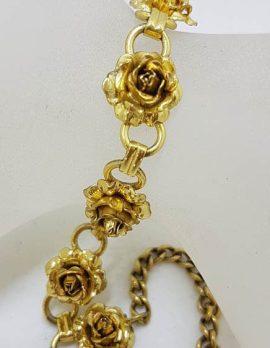 Plated Roses Bracelet - Vintage Costume Jewellery