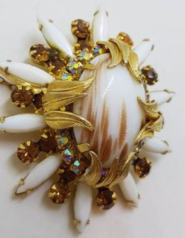 Plated Large White and Brown Rhinestone Cluster Oval Shape Brooch - Vintage Costume Jewellery