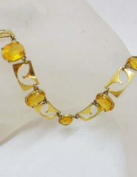 Plated Yellow Stone Necklace / Chain - German - Vintage Costume Jewellery