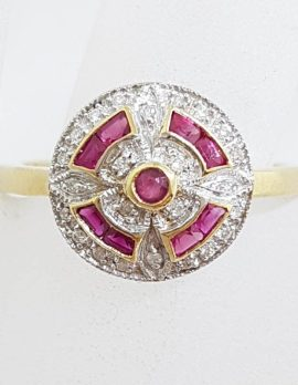 9ct Yellow Gold Natural Ruby & Diamond Round Cluster Art Deco Style Ring