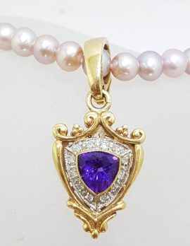 9ct Yellow Gold Shield Shape Amethyst surrounded by Diamonds Enhancer Pendant on Pearl Necklace