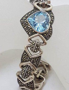 Sterling Silver Marcasite & Topaz Heart Bracelet