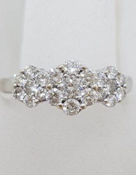 18ct White Gold Diamond Cluster Trilogy Daisy Ring - Dress Ring / Engagement Ring