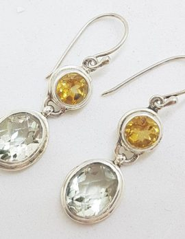 Sterling Silver Green Amethyst / Prasiolite & Citrine Earrings