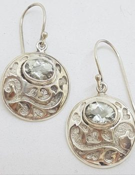 Sterling Silver Green Amethyst / Prasiolite Earrings - Round