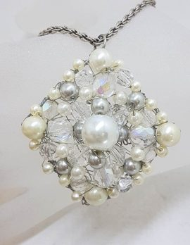 Plated Large Cluster Crystal and White Bead Pendant on Chain - Vintage Costume Jewellery