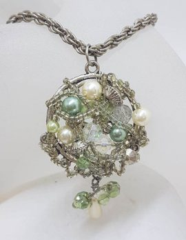 Plated Large Cluster Crystal and Bead Pendant on Chain - Vintage Costume Jewellery