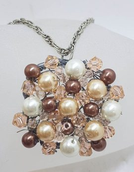Plated Large Cluster Crystal and Brown Bead Pendant on Chain - Vintage Costume Jewellery
