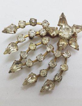 Vintage Costume Jewellery Shooting Star Rhinestone Brooch