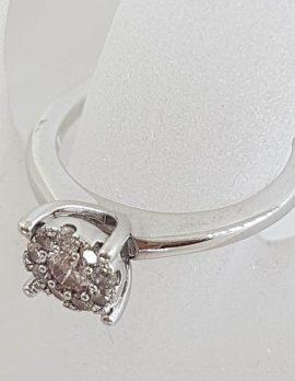10ct White Gold Round Cluster Diamond Ring - Engagement Ring / Dress Ring