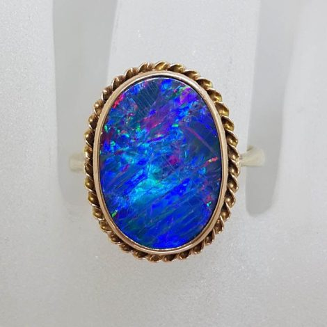 9ct Yellow Gold Large Oval Blue Opal Ring with Ornate Twist Border - Antique / Vintage