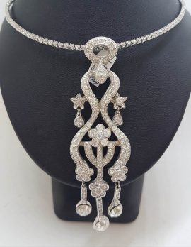Plated with Swarovski Crystal Shimmer and Glitz Very Long Ornate Pendant on Choker Chain / Necklace – Wedding / Debutante / Special Occasion