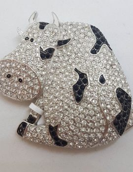 Plated Black and Clear Rhinestone Very Large Cow Brooch